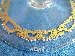 10 HUGE Vintage SALVIATI Moser Enamel Murano Glass Italian Gold Stem Goblets
