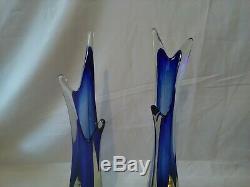 15 Vintage blue Murano Sommerso Seguso Studio Glass Splash Drop Vases