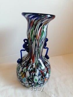 1920's Murano Fratelli Toso Millefiori Glass Carnival Mosaic Cobalt Antique Vase