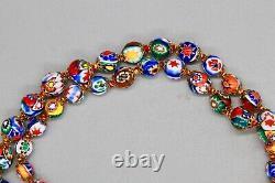 1950 Moretti Vintage Venetian Murano Millefiori Graduated Glass Bead Necklace 29