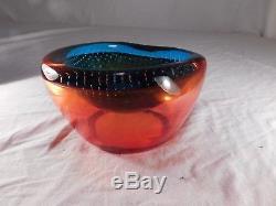 1950s Vintage Murano Rainbow Bubbles Dish/Bowl Seguso Art Glass Mid Century
