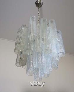 1960s Italian vintage Murano Tube glass chandelier style Mazzega