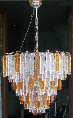 1960s Lampadario vintage Italy big Chandelier rare art VENINI Murano 194 glass