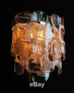 1970s Pair of Vintage Italian Murano wall lights 10 pink glasses