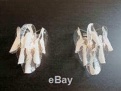 1970s Pair of Vintage Italian Murano wall lights 12 rondini glass