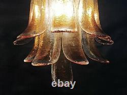 1970s Pair of Vintage Italian Murano wall lights amber glass petals