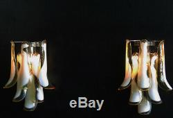1970s Pair of Vintage Italian Murano wall lights in the manner of Mazzega pur