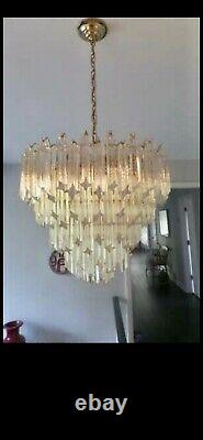 1970s VINTAGE CAMER MURANO GLASS VENINI CHANDELIER 91 CRYSTALS