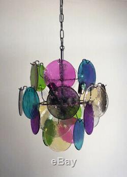 1970s Vintage Italian Murano chandelier lamp in Vistosi style 24 disks