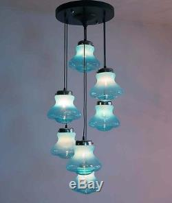 1970s Vintage Light Blue Murano glass Chandelier Sconce in Vistosi style