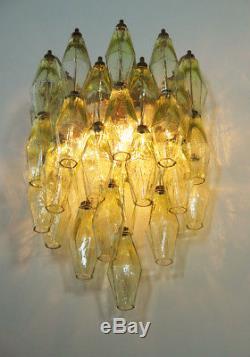 1970s Vintage Murano Italian yellow POLIEDRI glass appliques