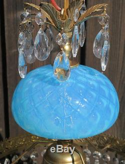 1o3 Vintage SWAG Lamp chandelier MURANO Venetian Turquoise Opaline Glass brass