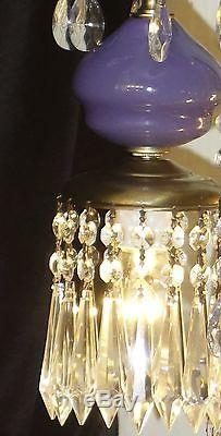 1of6 Vintage Purple amethyst Murano Art Glass Swag lamp brass Hollywood Regency