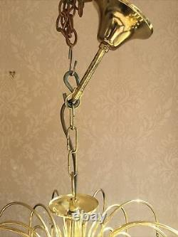 1x Vintage Pale Pink Glass Teardrops Chandelier Murano Style Stunning