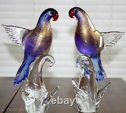 2 GORGEOUS Vtg MURANO Parrot Birds Exotic FORMiA Pair ArT GLaSs LABEL Italy