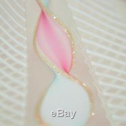 2 Vintage Murano Latticino Pink Glass Perfume Bottles 6.5 Venetian Italy Ribbon