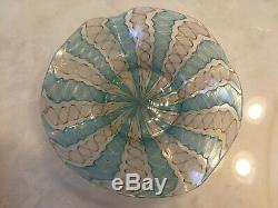 2 Vintage Murano Latticino Ribbon Glass Bowls In Gold, White and Blue/Green