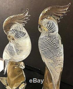 2 Vtg Murano Glass Parrots Cockatoo Birds 12 Archemide Seguso Gold Flake Italy