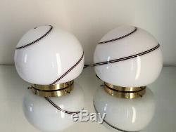 2 lovely table lamps swirl Murano glass + brass lampada tavolo vintage 70 U