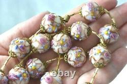 22 Vintage Murano Italy Pink Roses Wedding Cake Blue Flower Glass Bead Necklace