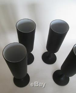 4 Vintage CARLO MORETTI Black Satinato Cased Goblets Champagne Stemware Glasses