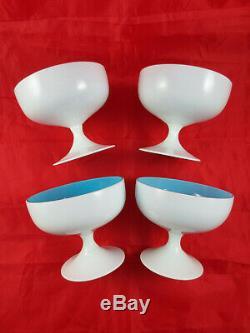 4 Vintage Murano Italian Cased Glass Champagne Sherbet Glasses Moretti MCM