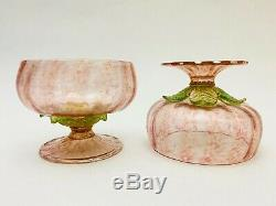 4 Vintage Murano Italian Salviati Blown Glass Pink & Gold Champagne / Liqueur
