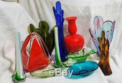 40cm Tall XL MURANO SAPPHIRE BLUE ART GLASS FINGER VASE Hand Blown Rare Vintage