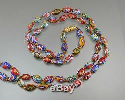 48 Vintage Murano Venetian Millefiori Glass Bead Necklace Estate Jewelry Italy