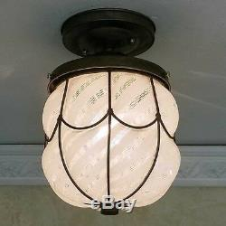 493b Vintage 1940s Murano Caged Glass Ceiling Light Fixture w shade Italian