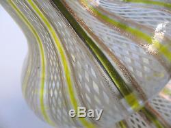 50's Vtg. D Martens Murano Latticino Glass LampYellowithGold/White Eames EraVGC