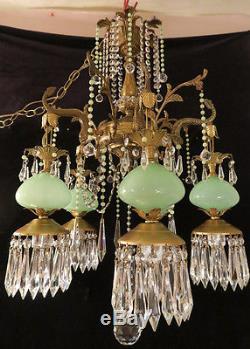 5Lt Vintage Serpent fish Brass Bronze Opaline JADE Murano glass Chandelier lamp