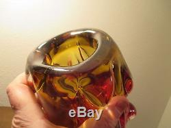 6lb Seguso vase vtg mid century sanyu japanese murano modern art glass amberina