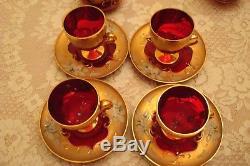 7-Pc Vintage Italian Venetian Barbini Murano 24K Gold & Ruby Red Tea SetBEAUTY