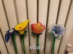7 Vintage Venetian Murano Glass Flowers Long 20 Stem Hand Made Heavy Mint Rare