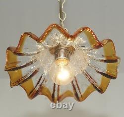 70er Murano Deckenlampe Pendelleuchte Glasschirm Pendant 1 Light Glass Vintage