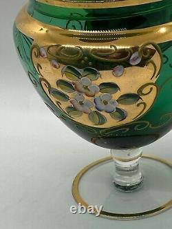 8 Vintage Venetian Murano Gold Gilt Enamel Green Art Glass Candy Dish