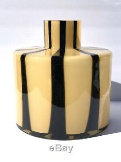 9.5 Vintage Abstract Striped Coffee Glass Flower Vase Murano Toso Italy MCM