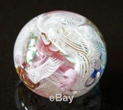 A Beautiful Vintage Murano Glass Paperweight With Latticino Tutti Frutti