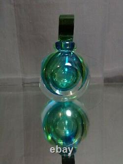 A Flavio Poli Perfume Bottle Sommerso Murano Italy Glass Vintage MCM Blue Green