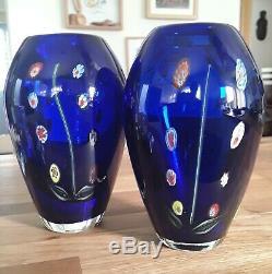 A Pear Of Vintage Italian Murano Venetian Millefiori Cobalt Blue Art Glass Vases