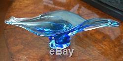 A Stunning Vintage Murano Centrepiece Blue Glass Bowl