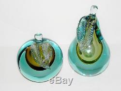 Alfredo Barbini Murano Sommerso Glass Pear & Apple Bookends Blue Gold Italy Vtg