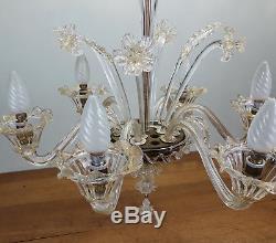 Ancien Lustre Verre Murano Doré Vintage Glass Chandelier