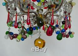 Antique Italian Murano Fruits Glass Drops Cage Chandelier Ceiling Light Vintage