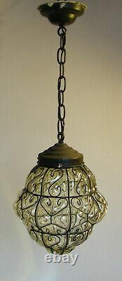 Antique Murano Art Deco Caged Glass Lantern Hanging Ceiling Light Vintage