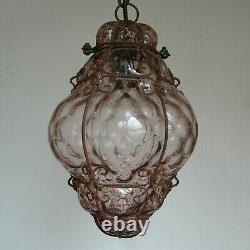 Antique Murano Hand Blown Caged Glass Lantern Hanging Ceiling Light Vintage