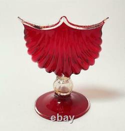 Antique Salviati Italian Murano Glass Ruby Red & Aventurine Scallop Shell Vase