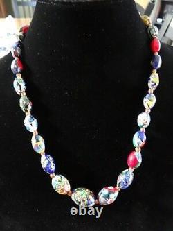 Antique Venetian Murano Oval Millefiori Bead Necklace Glass Art Deco 22 Italy