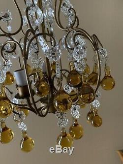 Antique Vintage Italian Crystal Beaded Murano Glass Birdcage Petite Chandelier
